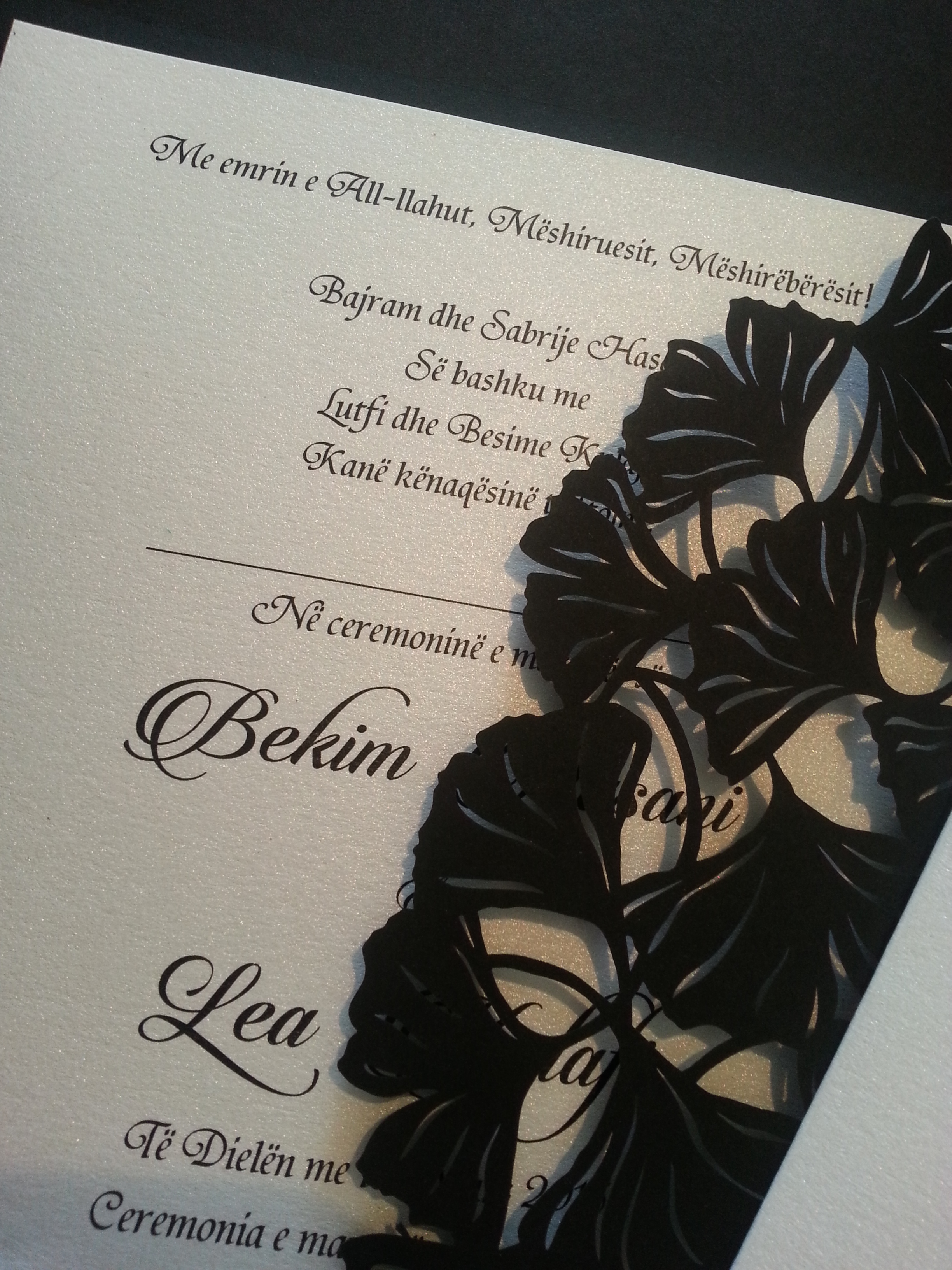 Lasercut invitations in black make a statement